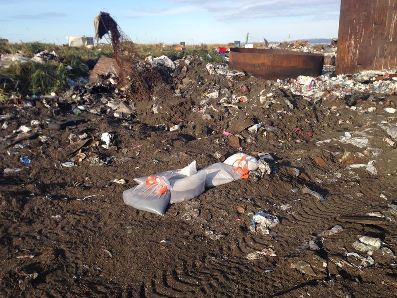 Bags of human waste at the landfill in Kivalina.
