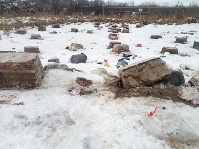 This is the honey bucket sewage lagoon in Kwethluk, where bins are emptied. This picture was taken in February, when it was cold enough that the chunks of sewage were frozen.