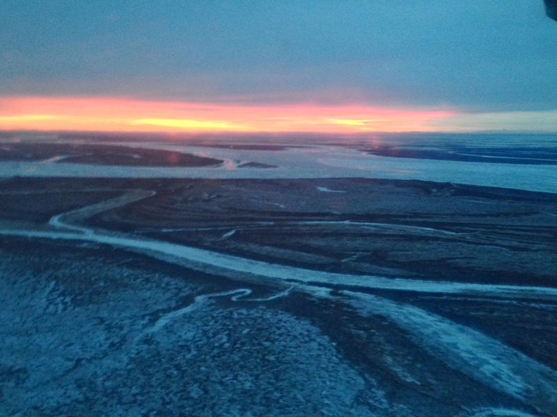 Dawn on the Kuskokwim River delta.