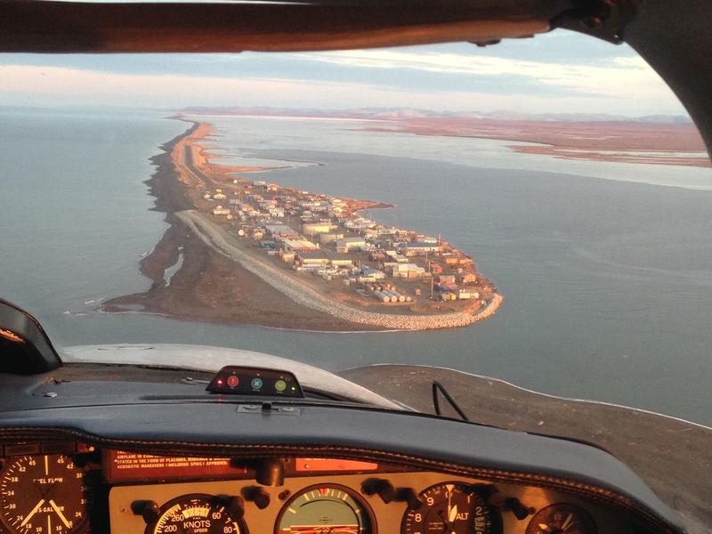 Water and sewer systems in communities across Alaska are threatened by flooding and erosion due to climate change. Shown here is the village of Kivalina located on a barrier island in Northwest Alaska that's facing inundation.