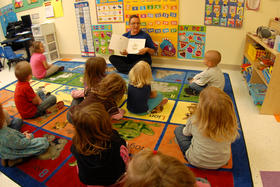 children in head start classroom