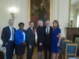 Network reporters and anchors pose for a photo at the White House on Monday, September 9, 2013.