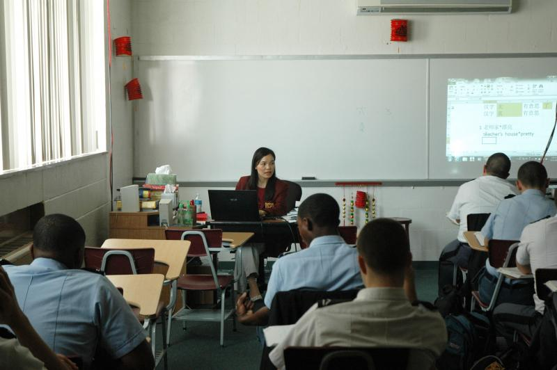 Chinese instructor Jackie Lee teaches a class of cadets how to say certain Chinese characters on March 22, 2012. The Chinese language class is new this year.