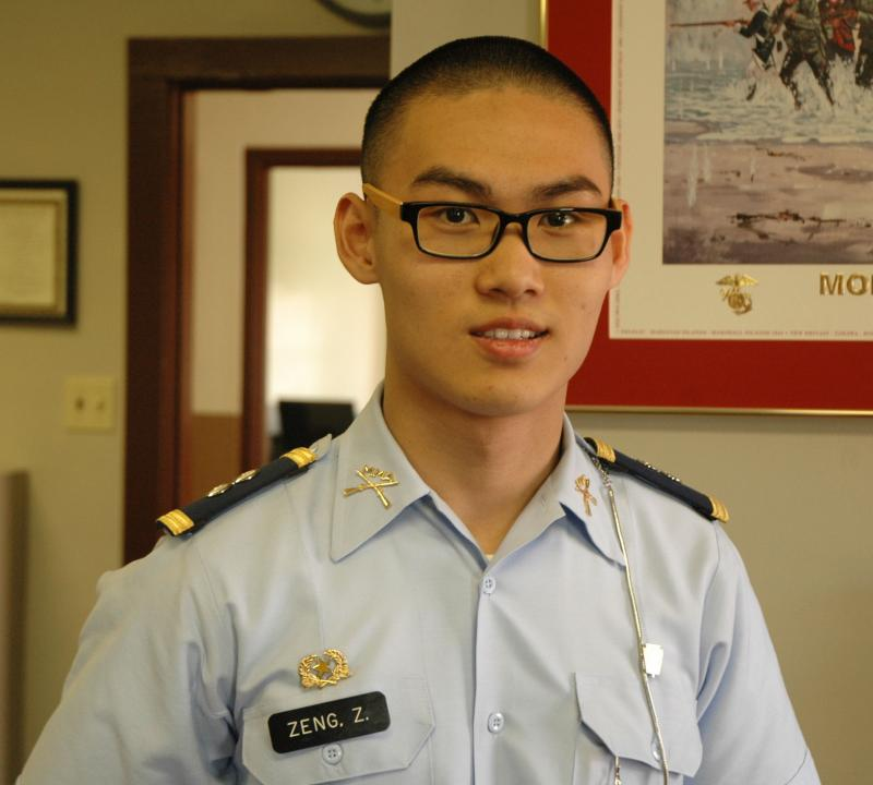 Senior Ziqing Zeng, a Chinese international student, poses for a photo in the president's office on March 22, 2012. He says that his parents sent him to Missouri Military Academy to aid him in getting into an American college.