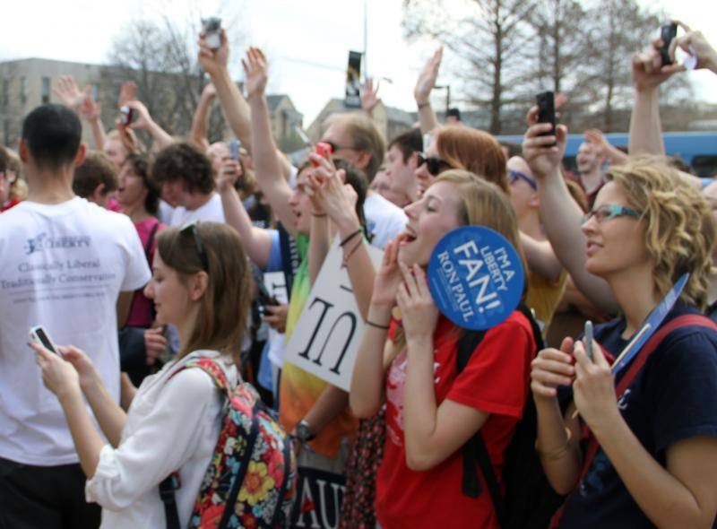 Supporters cheer as Presidential candidate Ron Paul prepares to leave after giving a speech on the south end of the David R. Francis Quadrangle on the University of Missouri campus on Thursday, March 15, 2012.