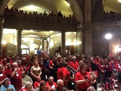 Hundreds gather inside the state capitol in Jefferson City, MO on March 27, 2012