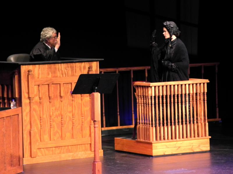 Ill. appellate judge Thomas Appleton swears in Mary Surratt (Aasne Vigesaa) during a civilian retrial at the Abraham Lincoln Presidential Library and Museum.