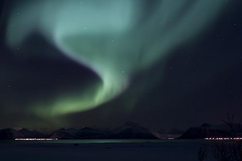 The aurora borealis, as seen from Norway.