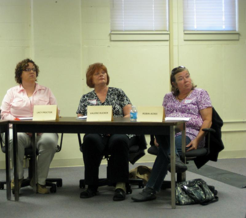 State employees and other advocates share their testimony Saturday at the MU campus.