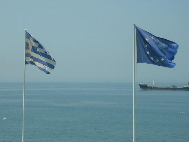 Flags of the European Union and Greece