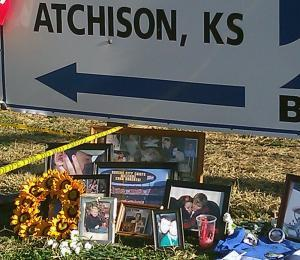 Mourners created a makeshift memorial to victims of the grain explosion in Atchinson, KS, near the site of the blast.