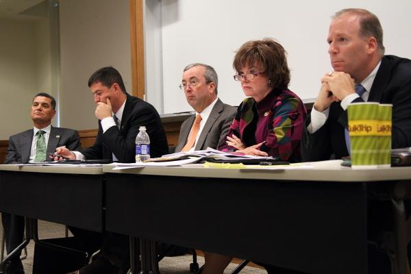 Stoic faces from the committee. From front to back: Senators Scott Rupp, Jane Cunningham, Joe Keaveny, Brad Lager, and Jim Lembke.