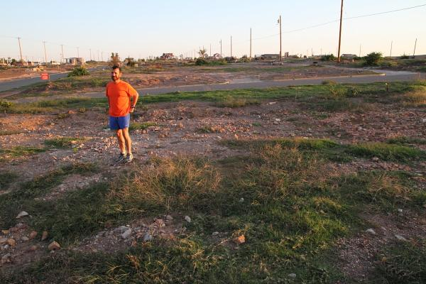 Travis Keller, at the spot where his house used to stand.