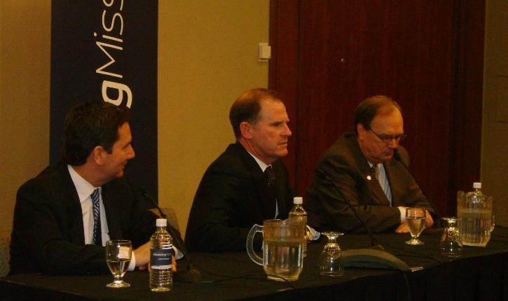 New UM President Timothy Wolfe (center) meets with press on Tuesday, Dec. 13 in Columbia, Mo.