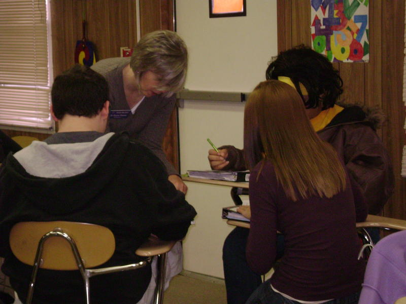 Students work in an AP Calculus class at Hickman high school in Columbia