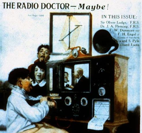 "The cover of Radio News magazine, April, 1924. These days, telemedicine is no longer a sci-fi ""maybe."" In rural America, more and more doctors and patients are connecting via live video."