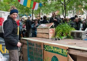 Occupy Wall Street's Sustainability Working Group set up composting stations at the movement's encampment in Zucotti Park in New York.