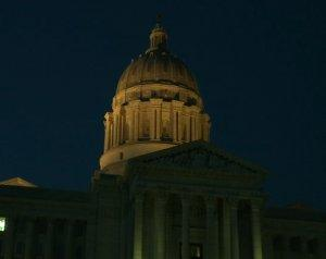 The Missouri Capitol building at night.  The proposed 2013 budget includes drastic cuts to higher education.