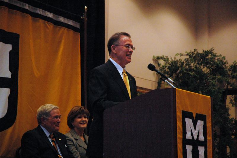 MU Chancellor Brady Deaton speaking at an event in Columbia.