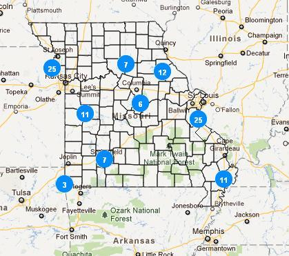 A map showing the numbers and locations of Missouri greenhouse gas emitters included in the new EPA data set.