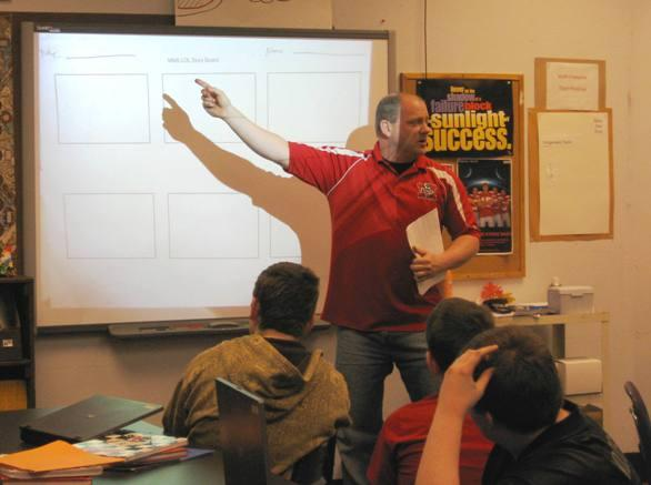Teacher Roger Brallier, in class at Mexico Middle School: Public schools had the spotlight in yesterday's start to the state's legislative session.