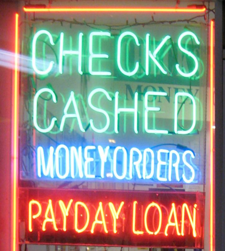A payday loan shop window.