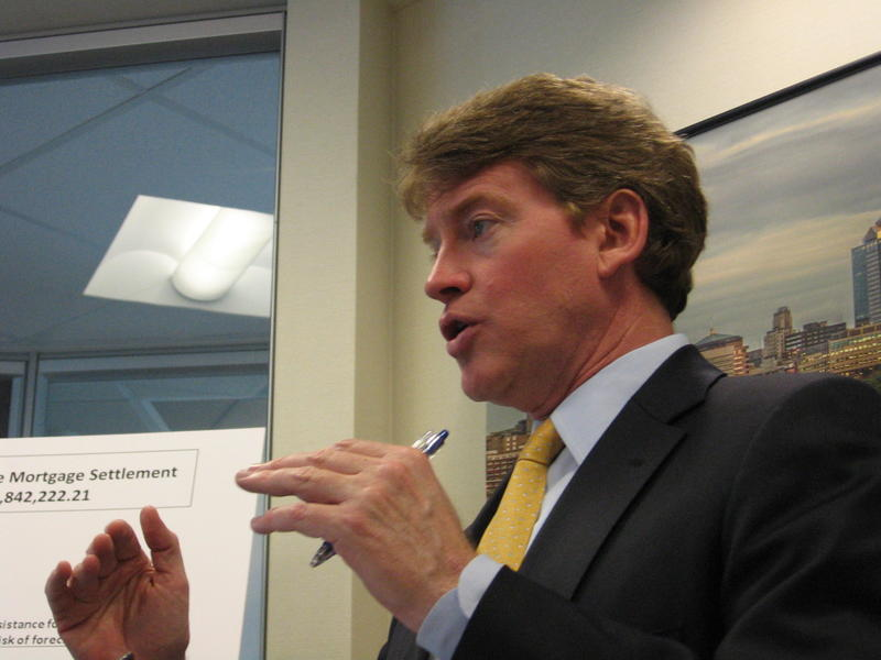 Chris Koster speaks at a press conference in Kansas City on Thursday, February 9th, 2012.