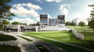 An architectural rendering of the proposed NBAF lab in Manhattan, Kan.