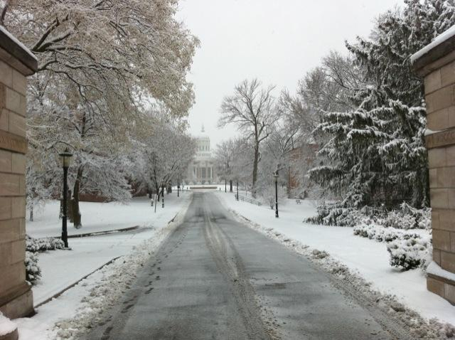 Snow in Columbia caused schools throughout the city to close, but the University of Missouri remained open Monday.