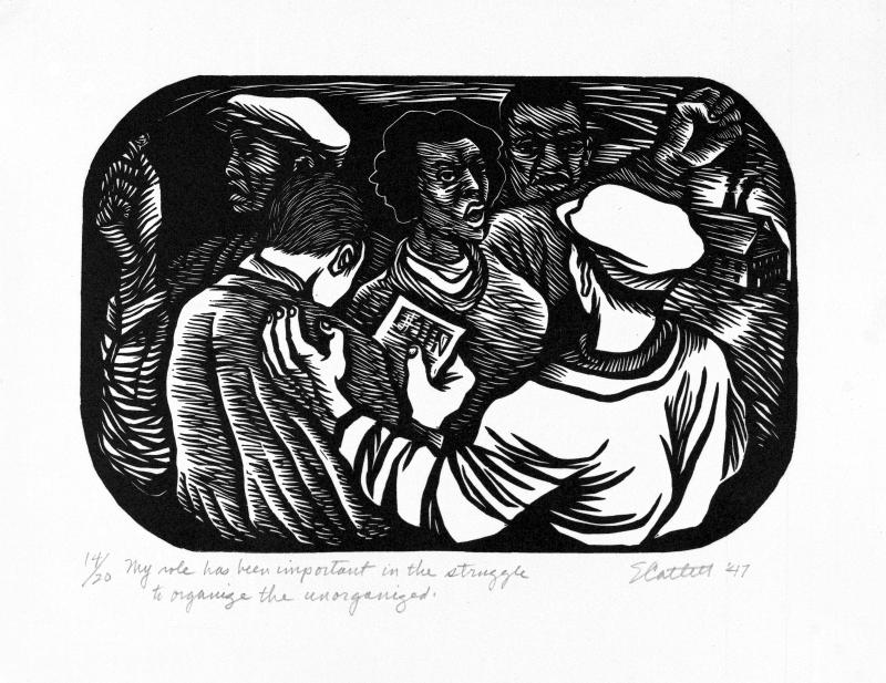 "Elizabeth Catlett, ""My role has been important in the struggle to organize the unorganized,"" 1947.