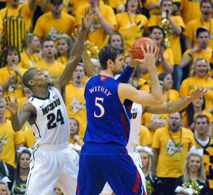 MU's Kim English boxes out Kansas guard Travis Releford during the MU-KU game on February 4, 2012 in Columbia, MO.