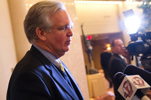 Governor Jay Nixon speaking to reporters earlier this month.