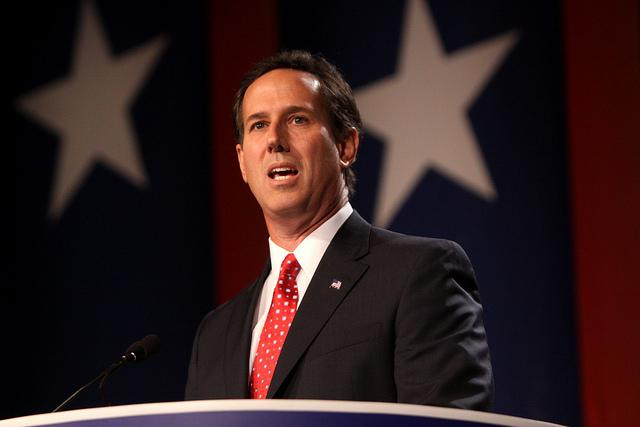 Rick Santorum speaking at the Values Voter Summit in Washington, DC.