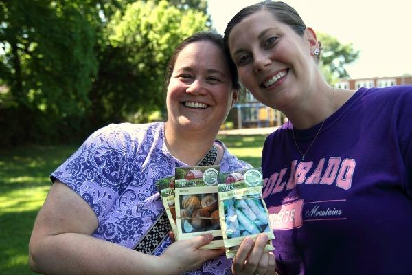 Ridgeway Elementary teachers Laura Sandstedt and Molly Lyman plan to use the new garden as part of their curriculum.