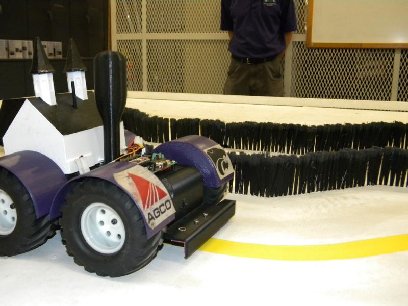 Three sensors allow this robot to discern where a field of crops ends.