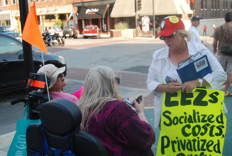 Columbia residents rallied before the Columbia city council meeting, Monday, June 18th. The rally was organized by Keep Columbia Free, a group opposed to enhanced enterprise zones in Columbia.