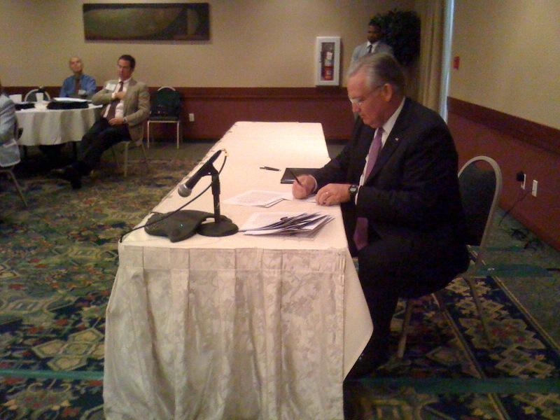 Governor Jay Nixon signs an education bill into law in Columbia, MO. June 7, 2012.