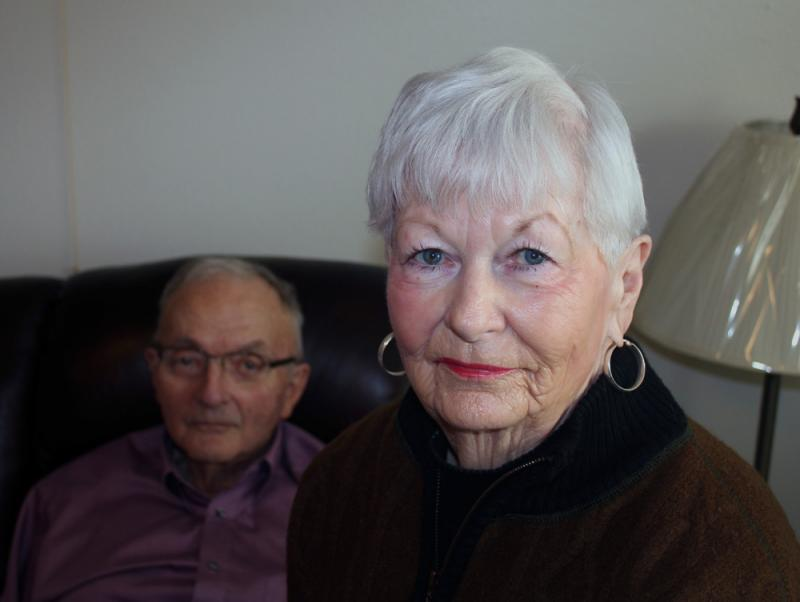 Nan Gardiner (front) with her husband Henry in Ashland, Kan.