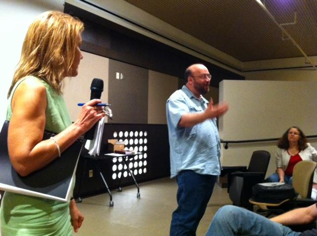 KSU Professor Donna Potts and MU Professor Stephen Montgomery-Smith led faculty members and colleagues in a discussion about the future of the UM Press, Tuesday, July 24, 2012.