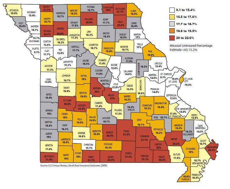 Percentage of Missourians Under Age 65 Who Were Uninsured in 2009, by County,