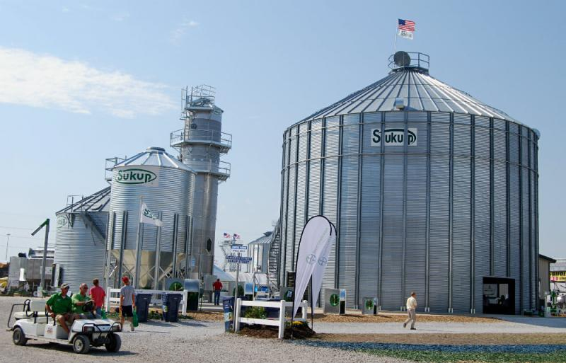 Sukup set up these massive grain bins at the show.