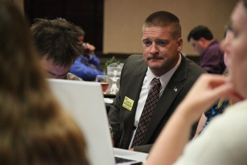 Boone County Commission candidate Lance Robbins watches his slight lead slip away on Tuesday's Republican primary.