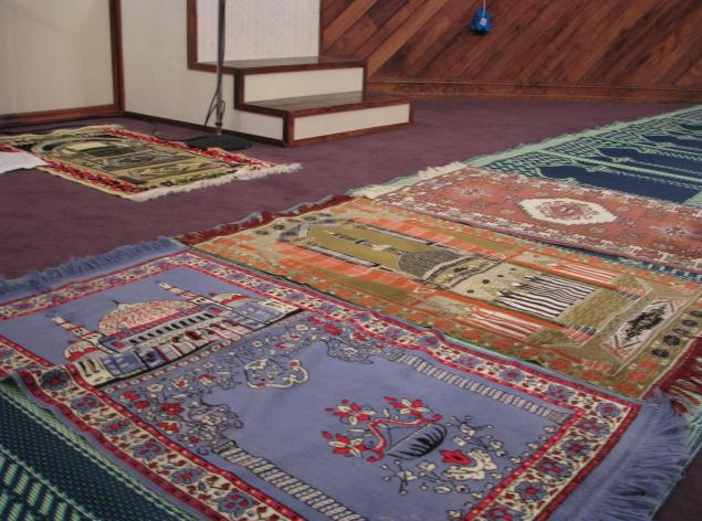 Prayer rugs lined the floor of the Joplin Islamic Center in 2009; the mosque burned to the ground on August 6, 2012.