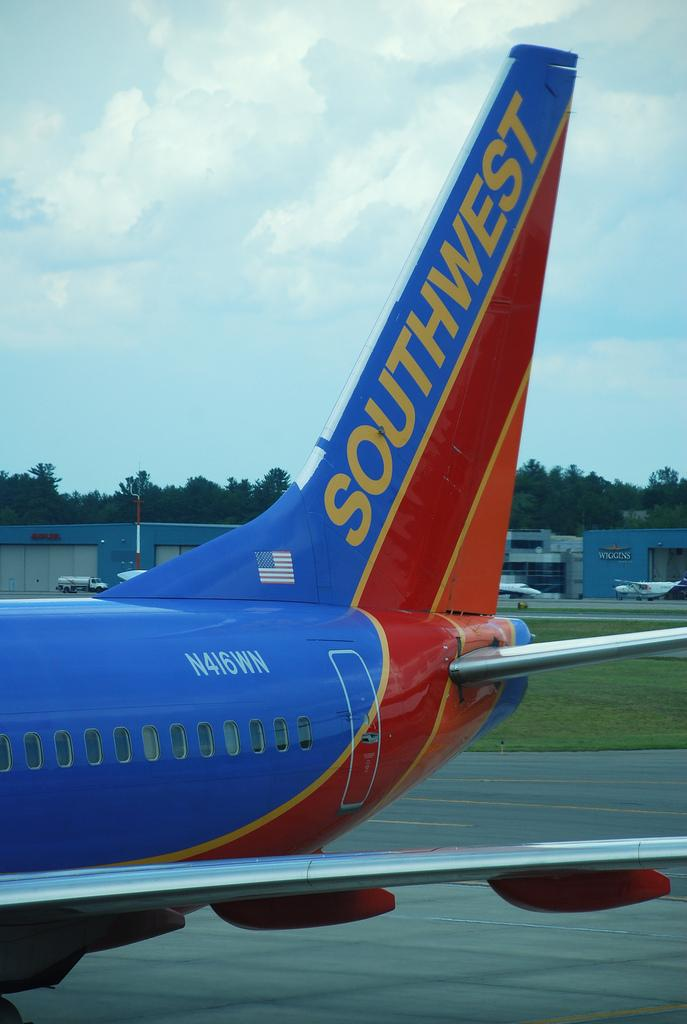 A Southwest Airlines plane at Manchester-Boston Regional Airport (MHT), Manchester, NH.