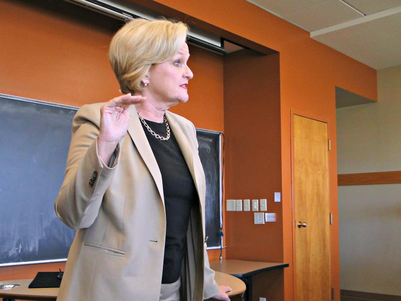 Sen. Claire McCaskill spoke to students at the University of Columbia Tuesday about the differences between herself and Rep. Todd Akin when it comes to students loans.