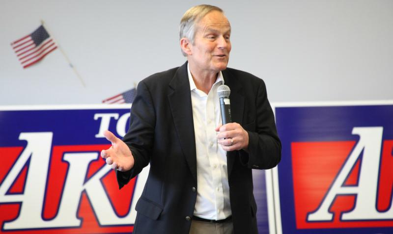 "U.S. Rep. Todd Akin spoke to Republican supporters in Columbia Thursday as part of his ""Common Sense"" campaign bus tour."