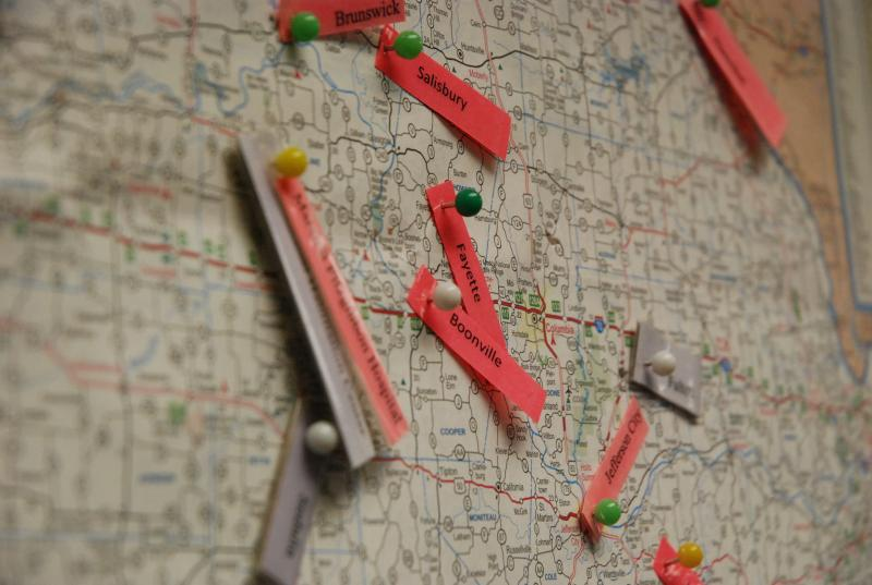 Telehealth locations throughout Missouri are pinned and labelled on a map on Sept. 20 at the University Hospital in Columbia.
