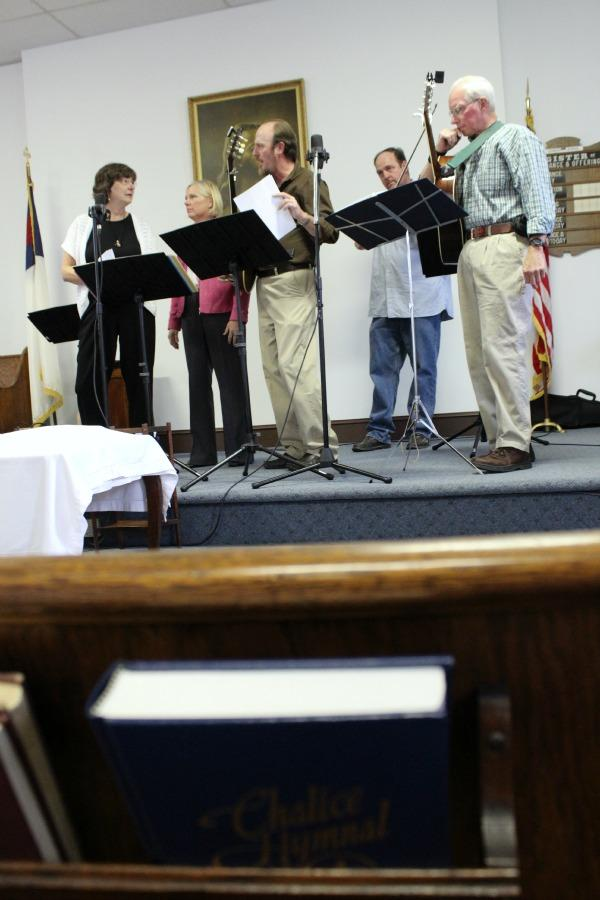 Nancy Miller, Kathy Carson, Dave Weston, Jim Weston and Jim Stallman play bluegrass tunes at First Christian Church in Rocheport.