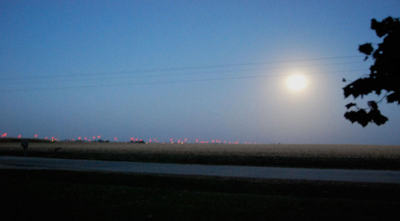 Wind turbines blinking red on the Knox County horizon.