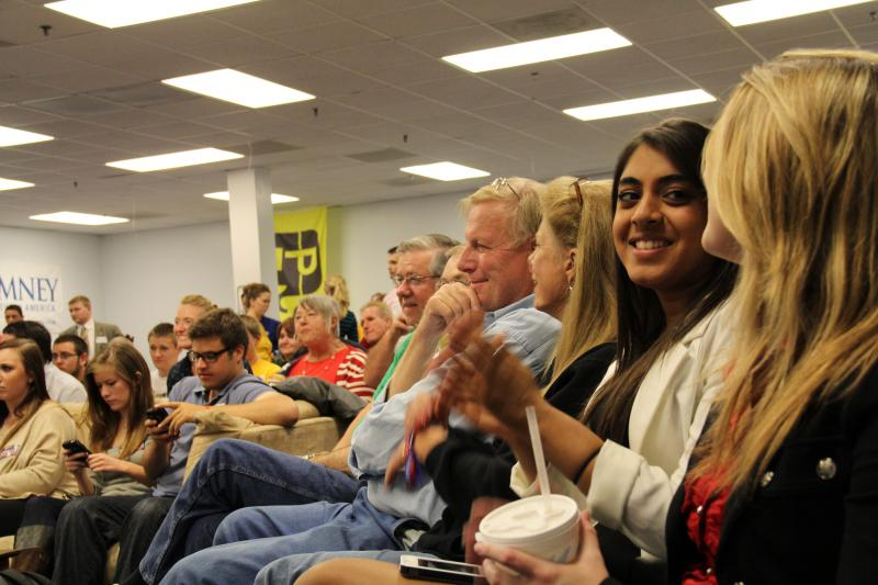 Sandy Patel, second from the right, watches presidential debate at Boone County GOP office in The responses of local Republican voters to last night's Presidential debate echoes what many pundits are saying nationally